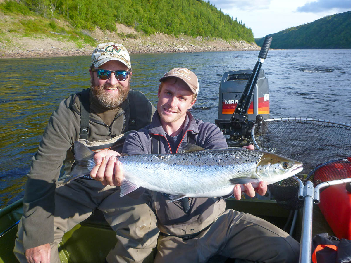 John B and Freddie showing a Fall-Run grilse from Hard Curve