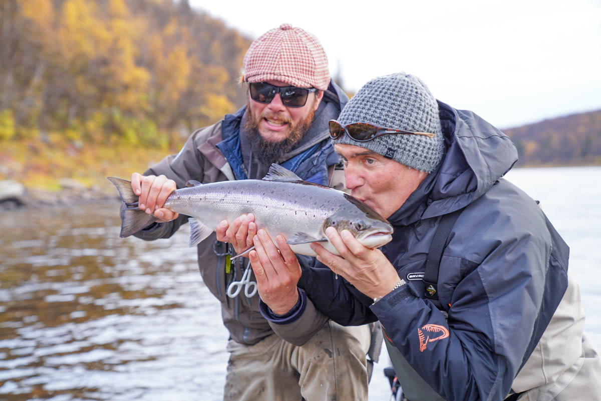 Genady D showing some love to the . First Atlantic Salmon he lands in his life!