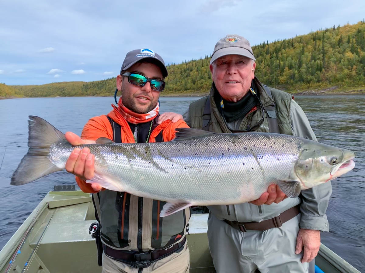 A fantastic example of a Ponoi fall-run caught by David W