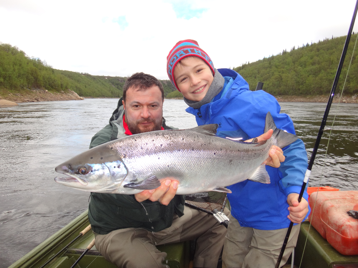 Family catch, Ilya and Kostya with a great looking salmon!!!